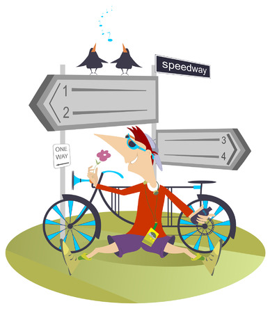walkman: Tired cyclist has a rest, drinks water and listens the birds Illustration