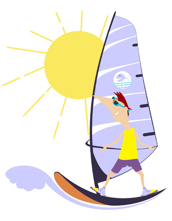 cheerfulness: Comic man goes in for windsurfing