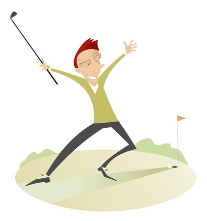hit man: Smiling golfer on the golf course enjoys good hit