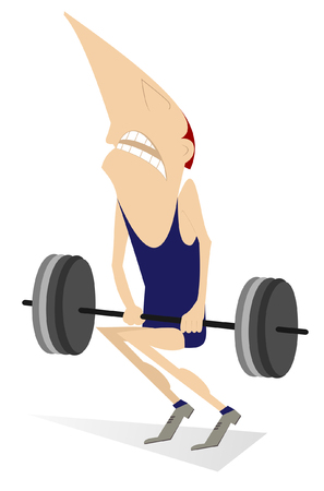 heavy weight: Cartoon man is trying to lift a heavy weight Illustration