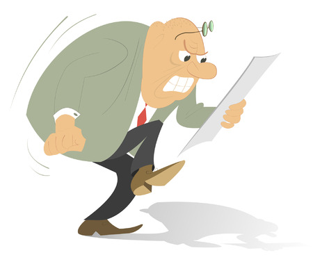 career coach: Bald headed man looks the paper which makes him angry Illustration