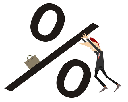 interest rate: Businessman lifts up the interest rate