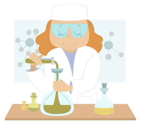 tester: Young woman scientist conducts an experiment at the laboratory