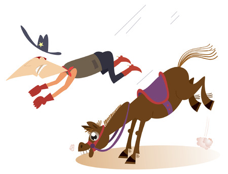 cowboy horse: Man or cowboy falls from the horse Illustration