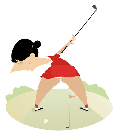 buttocks: Funny cartoon big bottom women on the golf course
