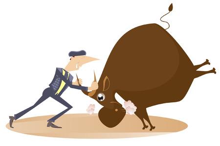 bullfighter: Bullfighter holds a bull by horns Illustration