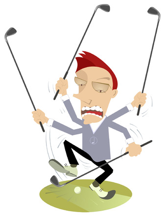 Super golfer is playing golf by many clubs Illustration