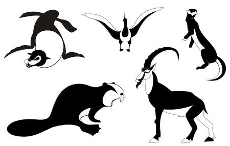 cormorant: Vector original art animal silhouettes collection for design Illustration