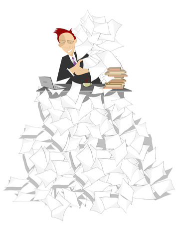 bureaucracy: Businessman sits at the table on the high pile of documents