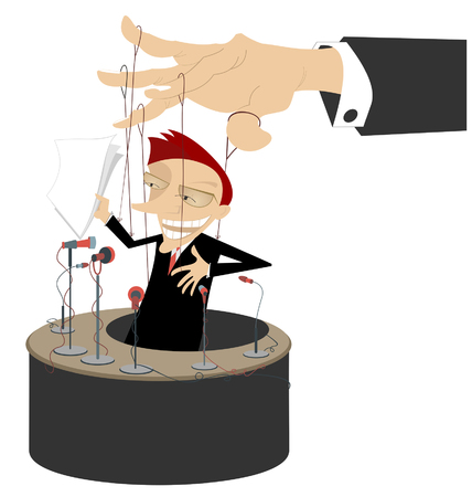 corrupted: Men makes a report is controlled by cords like puppet Illustration