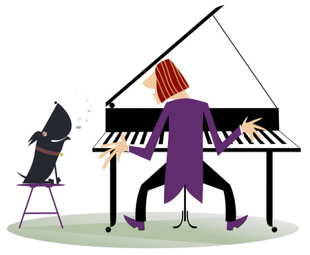 Pianist plays piano and the dog howls Illustration