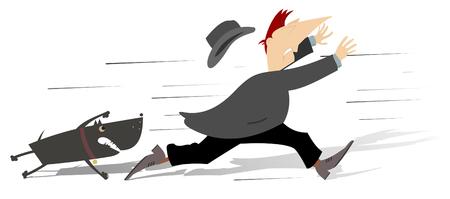 perro furioso: Hombre huir de perro enojado Vectores