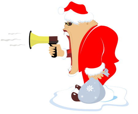 somebody: Comic Santa wishes somebody a happy New Year by megaphone Illustration