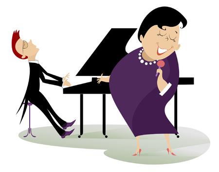 Singer vrouw en een pianist Stock Illustratie