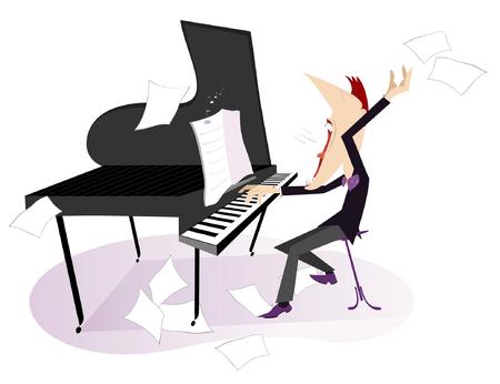pianista: Pianista o compositor toca el piano y canta con la inspiración
