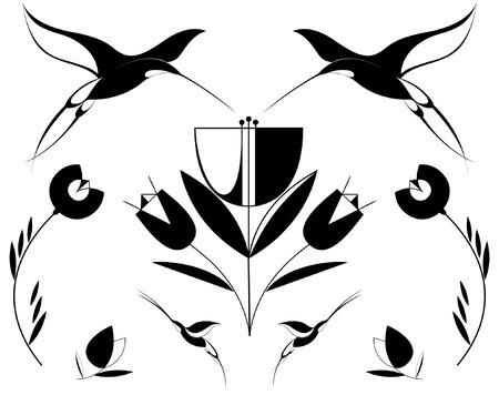 Original decorative birds and flowers set for design