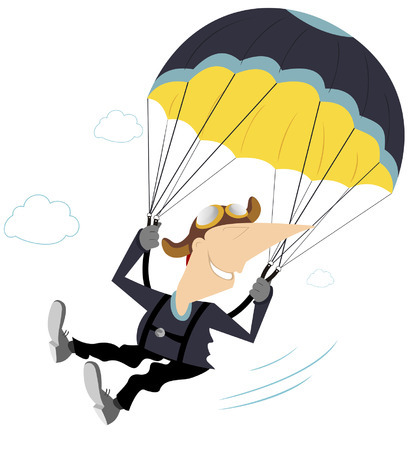 enjoyment: Comic skydiver derives enjoyment from jumping Illustration
