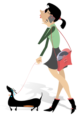 smart girl: Girl with a dog.  Girl walking with dog and talks on telephone