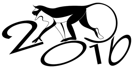 Monkey and New Year. Monkey original art silhouette Illustration