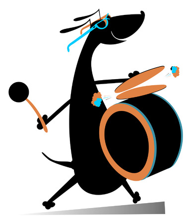 beats: Dog a drummer. Comic dog beats the drum and kettledrums Illustration