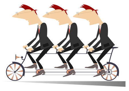teamwork cartoon: Team work. Three businessmen ride on one bike