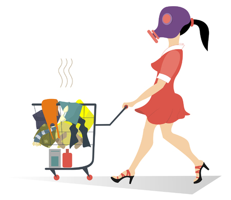 clothes washer: Dirty laundry. Girl in the gas mask wheels a trolley with dirty laundry Illustration