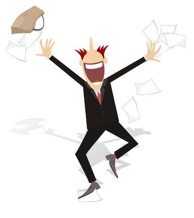 tossing: Happy businessman tossing papers, excited about something
