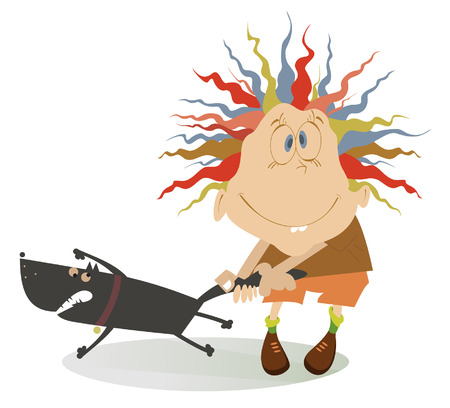 wścieklizna: Brave boy holds an angry dog by tail