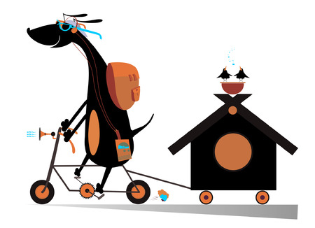 doghouse: Dog travels on the bike with doghouse