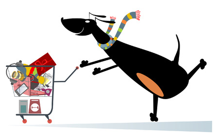 Dog is shopping. Dog pushes a shopping trolley full of purchases Illustration