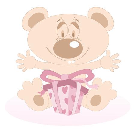 clip art people: Cute Teddy Bear with a present. Cute Teddy Bear is given a present and looks happy