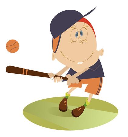 cheerfulness: Baseball player. Comic boy hits a ball