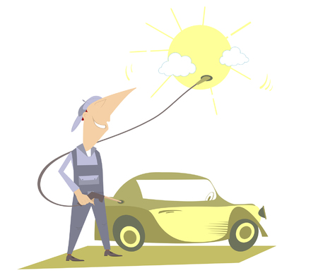 sun: Ecological fuel. Man fueling a car using energy of the sun