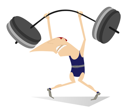 heavy weight: Weightlifter. Cartoon man is trying to lift a heavy weight