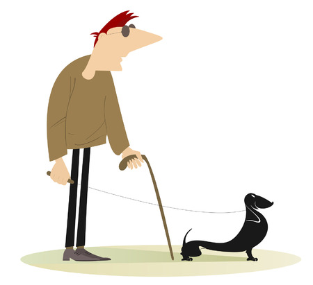 guide dog: Blind man. Blind man with a guide dog