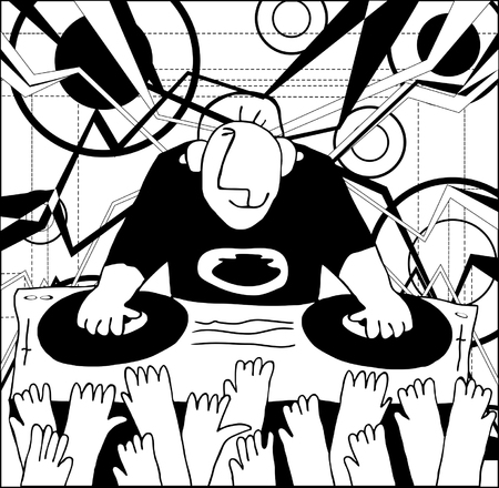 disc jockey: Cartoon funny DJ illustration. DJ performing music and people dancing with hands up Illustration