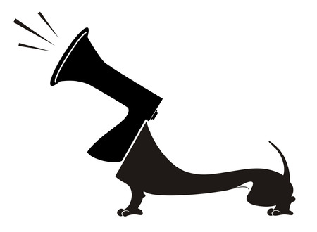barking: Dog with a megaphone head barks or announces something