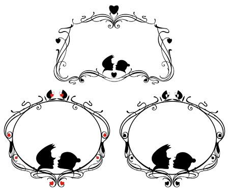 donna innamorata: fotogrammi originali decorative impostate con amorevole coppia e sagome di cuore Vettoriali