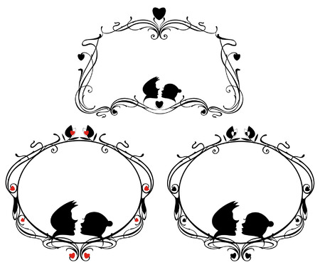 romantic couples: original decorative frames set with loving couple and heart silhouettes Illustration