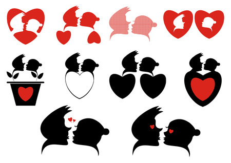funny love: Love silhouette symbols collection. Loving couples and hearts silhouette collection for design