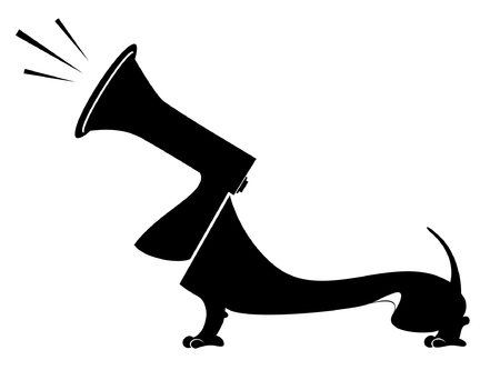 barking: Dog and megaphone concept illustration. Dog with a megaphone head barks or announces something