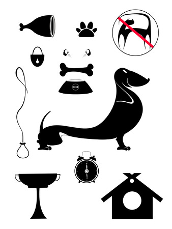 restrictive: Dog breeding objects collection for design. Dog breeding objects silhouette collection for design