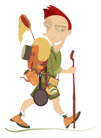 butterfly knife: Traveler. Smiling man walks with rucksack and outfit Illustration