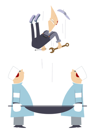 physicians: Emergency.  Two physicians are keeping a stretcher so to catch a falling worker Illustration