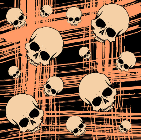 Grunge seamless background with scull for design