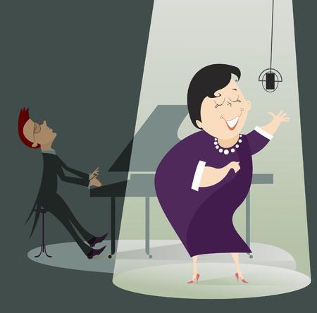 pianista: Mujer del cantante y un pianista en el concierto. Mujer del cantante canta en el escenario con un pianista en el lado trasero Vectores