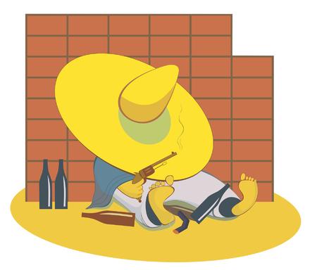 lies: Drunken man with a gun lies near the wall. Drunken cowboy with a gun pulls his hat over his eyes and lies near the wall Illustration