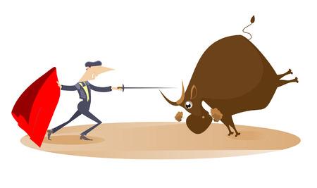 corrida de toros: Corrida. Torero tiene como objetivo el toro por la espada Vectores