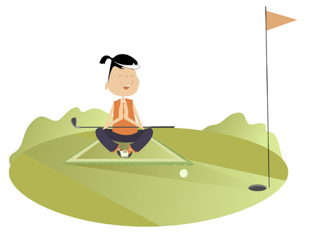 meditates: Pretty young woman meditates on the golf course