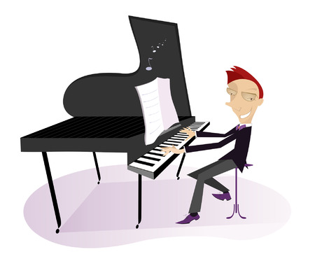 pianista: pianista sonriente se está reproduciendo música Vectores